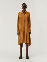 JOSEPH New Crepe de Chine Despente Dress in Oak ~ asymmetric hemline dresses