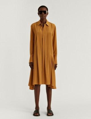 JOSEPH New Crepe de Chine Despente Dress in Oak ~ asymmetric hemline dresses - flipped