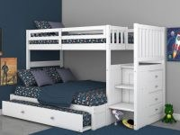 Factory Bunk Beds DISCOVERY WORLD FURNITURE WHITE STAIRCASE MISSION BUNK BED TWIN OVER FULL WITH BRUSHED NICKEL HANDLES | CAMBRIDGE | VIV RAE | KAITLYN