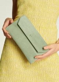 L.K. BENNETT DORA SOFT GREEN SUEDE CLUTCH / small luxe envelope bags