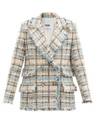 MSGM Double-breasted check cotton-blend tweed jacket / blue and cream checked jackets / fringed trim