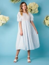 sister jane Blue Skies Oversized Midi Dress   voluminous puff sleeve dresses