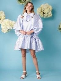 sister jane Cornflour Meadow Jacquard Mini Dress   voluminous statement dresses   fashion with exaggerated puff sleeves   extreme volume