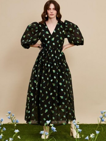 sister jane DREAM Fantasy Floral Midi Wrap Dress – romantic dresses – balloon sleeves - flipped