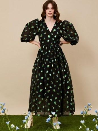 sister jane DREAM Fantasy Floral Midi Wrap Dress – romantic dresses – balloon sleeves