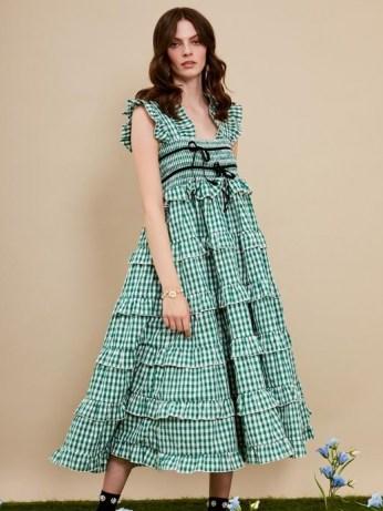 sister jane DREAM Roller Gingham Midi Dress – green checked dresses - flipped