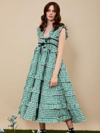 sister jane DREAM Roller Gingham Midi Dress – green checked dresses