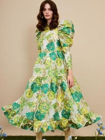 sister jane Sideshow Jacquard Maxi Dress – green floral oversized puff sleeve dresses – romantic bold print fashion - flipped