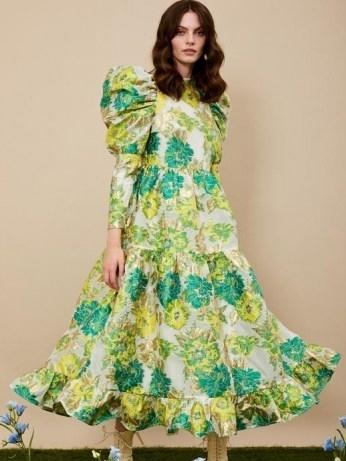 sister jane Sideshow Jacquard Maxi Dress – green floral oversized puff sleeve dresses – romantic bold print fashion