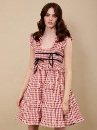 sister jane DREAM Roller Gingham Mini Dress Red and White – checked ruffle trim dresses