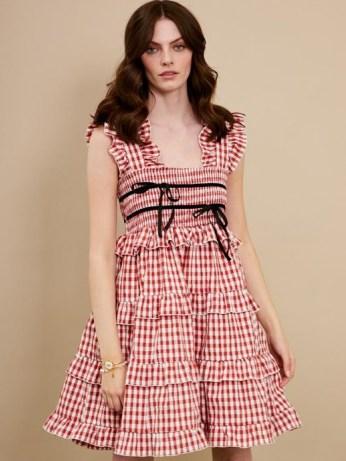 sister jane DREAM Roller Gingham Mini Dress Red and White – checked ruffle trim dresses - flipped