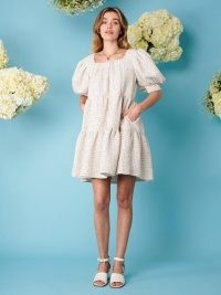 sister jane Sweet Tweed Confetti Dress | tiered puff sleeve dresses | square neck | fashion with volume