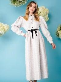 sister jane Ray Floret Jacquard Midi Dress   vintage style puff sleeve dresses