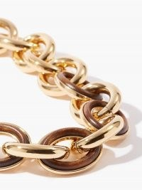 JIL SANDER Eclipse wood-insert chain-link choker ~ chunky chain chokers