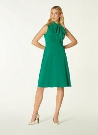 L.K. BENNETT EDELINE GREEN SILK TIE NECK DRESS ~ sleeveless pussy bow dresses with floaty A-line skirt