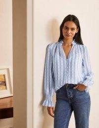 BODEN Edith Blouse in Blue And White Stripe Dobby / feminine gathered trim blouses