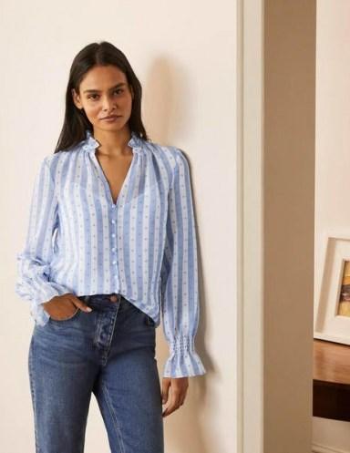 BODEN Edith Blouse in Blue And White Stripe Dobby / feminine gathered trim blouses - flipped