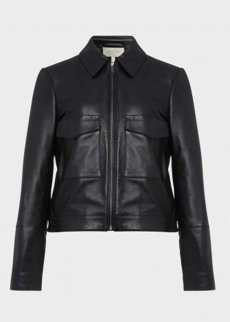 HOBBS ELISE LEATHER JACKET ~ boxy black jackets - flipped