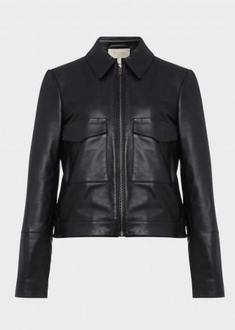 HOBBS ELISE LEATHER JACKET ~ boxy black jackets