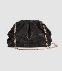 REISS ELLENA EMBELLISHED POUCH CLUTCH BLACK CRYSTALS ~ glittering chain strap evening bags