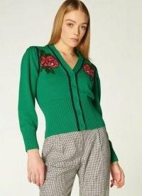 L.K. BENNETT ELSIE GREEN FLORAL EMBELLISHED CARDIGAN ~ beaded cardigans