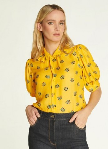 L.K. BENNETT ELSON YELLOW POSEY PRINT SILK-BLEND BLOUSE / vintage style puff sleeve floral blouses - flipped