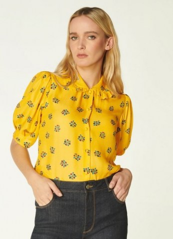 L.K. BENNETT ELSON YELLOW POSEY PRINT SILK-BLEND BLOUSE / vintage style puff sleeve floral blouses