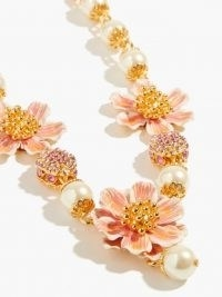 DOLCE & GABBANA Enamel-flower and faux-pearl necklace ~ Italian floral statement necklaces
