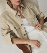 REISS ESME RELAXED CORDUROY OVERSHIRT NEUTRAL / chic cord shirts