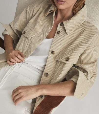 REISS ESME RELAXED CORDUROY OVERSHIRT NEUTRAL / chic cord shirts - flipped