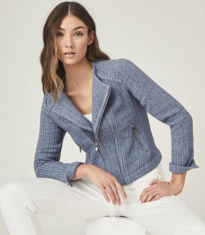 REISS ESSIE CROPPED BOUCLE JACKET BLUE / textured biker style jackets - flipped