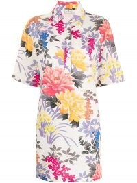 Etro floral print henley shirt dress ~ casual dresses