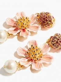 DOLCE & GABBANA Faux-pearl and crystal flower clip earrings ~ statement floral drops ~ beautiful Italian costume jewellery