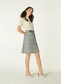 L.K. BENNETT FAYE GREEN CHECK COTTON-BLEND A-LINE SKIRT / classic checked skirts