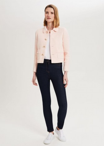 HOBBS FELICITY TWEED JACKET PALE PINK ~ chic classic style jackets - flipped