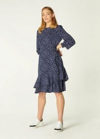L.K. BENNETT FILIPPA NAVY CHEETAH PRINT JERSEY DRESS