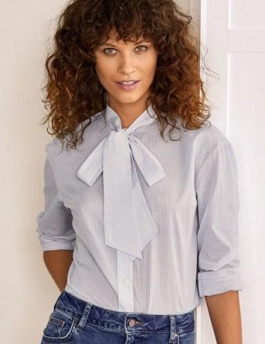 BODEN Fiona Tie Neck Shirt in Hazy Blue Ticking Stripe / striped shirts