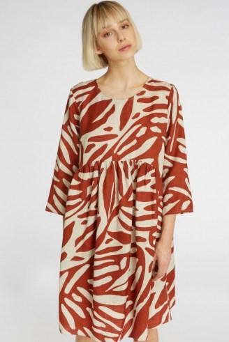 gorman FLOATING POINTS LINEN DRESS – printed smock dresses - flipped