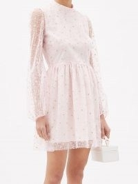 GIAMBATTISTA VALLI Floral-embroidered tulle mini dress in pink ~ feminine sheer overlay dresses