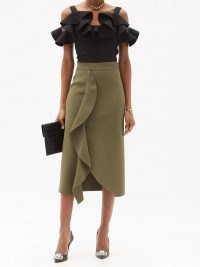 ALEXANDER MCQUEEN Flounced heavyweight-jersey midi skirt ~ khaki-brown front ruffle skirts
