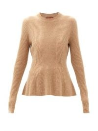 ALTUZARRA Frankie flared ribbed cashmere sweater in beige