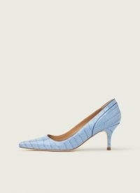 L.K. BENNETT FRANNY BLUE CROC-EFFECT COURTS in HYACINTH ~ crocodile embossed court shoes
