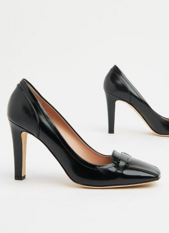 FRANZISKA BLACK LEATHER BAR TRIM COURTS ~ court shoes with squared off toes - flipped