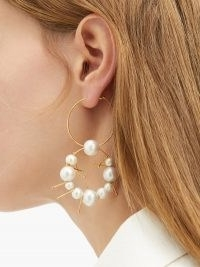 JIL SANDER Freshwater-pearl hoop earrings ~ double hoops