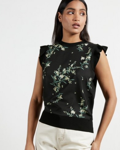 TED BAKER ZAPHIRA Frilled floral print top – black frill sleeve tops