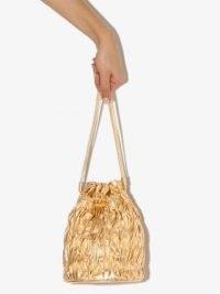 GANNI metallic ruched mini bag ~ small gold drawstring bags