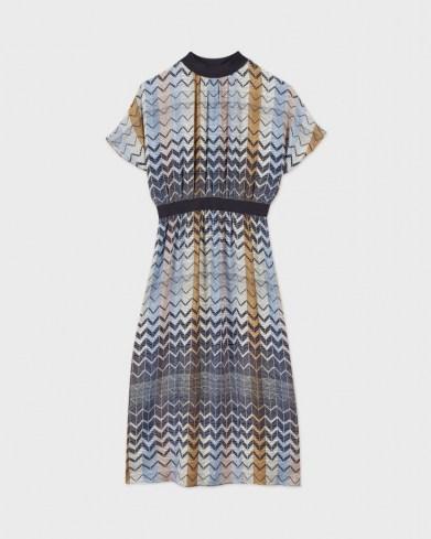 Ted Baker SAMII Geo printed rib detail midi dress | 70s vintage inspired dresses - flipped