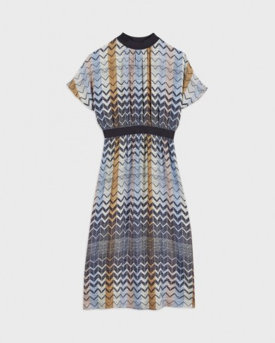 Ted Baker SAMII Geo printed rib detail midi dress | 70s vintage inspired dresses