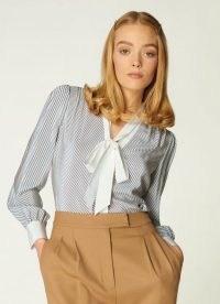 L.K. BENNETT GEORGIA DIAGONAL STRIPE SILK BLOUSE / blue and cream striped pussy bow blouses