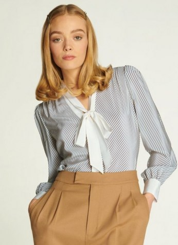 L.K. BENNETT GEORGIA DIAGONAL STRIPE SILK BLOUSE / blue and cream striped pussy bow blouses - flipped